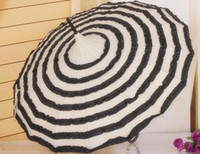 Wholesale Cheap Black Umbrellas - Wholesale-OP-Free shipping, Cheap Straight Pagoda umbrella White and Black Stripe Patterns Sun Umbrella available in Stock,B2177
