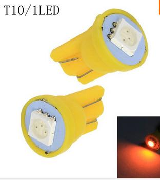 Бесплатная доставка 100 шт. Авто светодиодный T10 1 светодиодный smd 5050 Клин светодиодная лампа 1SMD белый / зеленый / синий / красный / желтый
