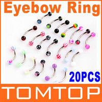 Wholesale Tragus Curved Barbell Jewelry - Wholesale-OP-5sets lot 20pcs Colorful Stainless Steel Ball Barbell Curved Eyebrow Rings Bars Tragus Piercing Free Shipping Dropshipping