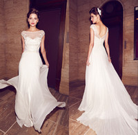 Wholesale Sheer Beach Gowns - Charming Sheer Scoop Appliqued Bodice A-Line Floor Length Chiffon Wedding Dresses Backless Low Back Bridal Beach Wedding Gowns Plus Size