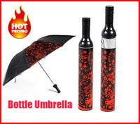 Wholesale Red Wine Bottle Umbrella - Wholesale-OP-Wholesale Outdoor Portable Three Folding red Wine Bottle Sun-rain Umbrella beach umbrella rain kids Gift