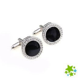 Brand Mosaic Canada - Luxury Round Black Agate Cufflinks Sleeve Nails Mosaic White Rhinestone Cuff Link for Men Brand Shirt Silver Buttons Wedding Party prom Gift