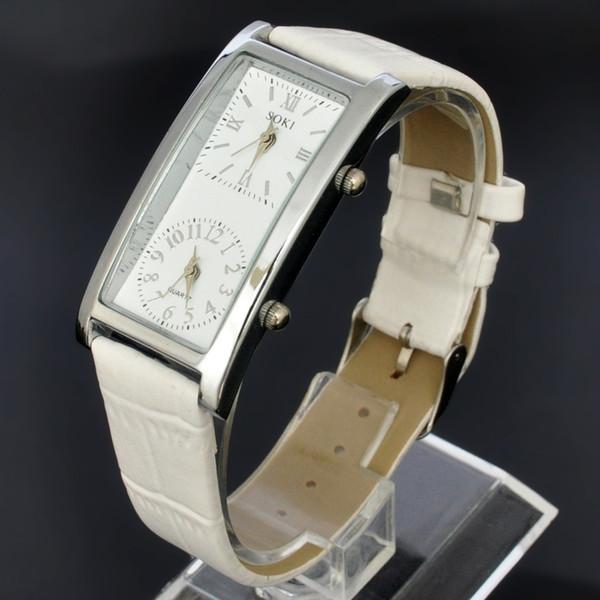 SOKI New Womens Watches White Girls Dual Timezone Display Reloj de pulsera de correa de cuero de cuarzo analógico Ladies Time