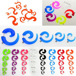 Wholesale Ear Gauges Acrylic Clear - Wholesale-OP-3-8mm Transparent Swirl Fake Flesh Tunnel Clear Acrylic Saddle Ear Tunnels Plugs Earlets Gauge Body jewelry