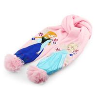 Wholesale Hat Scarf Princess - frozen Scarves + caps for 3Y-6Y Children Accessories cartoon kids baby girls pink anna elsa Scarf hat Winter warm cap princess
