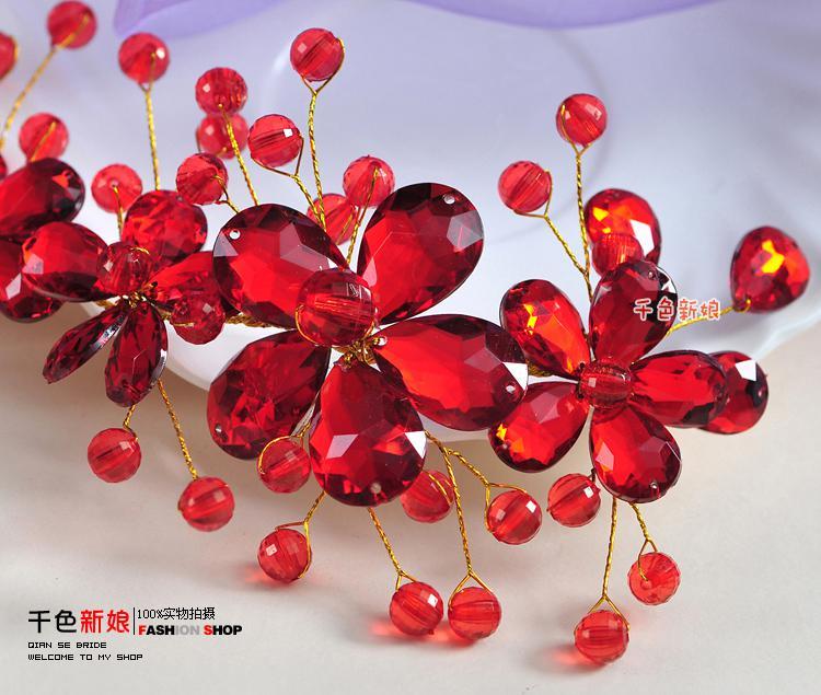 Consegna veloce! Fashion Wedding da sposa Diademi rossi Stunning Fine Pettine Accessori gioielli da sposa Spazzola capelli in cristallo