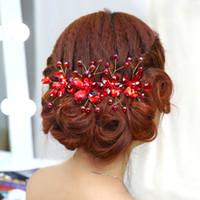 rote bürsten für haare großhandel-Schnelle Lieferung! Mode Braut Hochzeit Rote Diademe Atemberaubende Feine Kamm Brautschmuck Zubehör Kristall Haarbürste