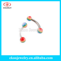 Wholesale Curved Barbell Eyebrow Rings - Wholesale-OP-Acrylic Body Piercing Polyresin Rainbow Gay Pride Ball Eyebrow Ring 1,2*8*3mm Curved Barbell Lot of 100pcs