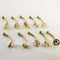 Wholesale Dragonfly Butterfly Jewelry - Wholesale-OP-50pcs 16G eyebrow ring with Butterfly leaf dragonfly dollar cat skull peace design gold body piercing jewelry