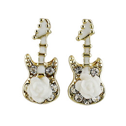 Wholesale Guitar For Decoration - New Coming Alloy Enamel with Flower Guitar Decoration Drop Earrings for Women Wholesale