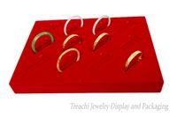 красный ножной браслет оптовых-Профессиональный ювелирный дисплей Красный бархатный держатель браслета 12 слотов Bangle Organizer Anklet Showcase Jewelry Display Tray Jewelry Box Free Ship