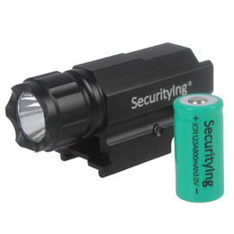 Cheap freeshipping-freeshipping - SecurityIng CREE LED Gun Flashlight Torch Flash Light with Quick Release Weaver Mount for Pistols Airsoft + ICR 123A Battery LEF_SD5