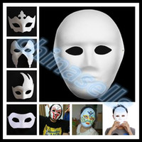 Wholesale crown drawing - free ship DIY hand painted Halloween white face mask crown butterfly blank paper mask masquerade cosplay mask kid draw party masks props