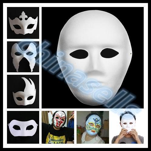 Compre Navio Livre Diy Pintado A Mao Mascara De Mascara De Papel Em Branco Halloween Mascara De Papel Em Branco Masquerade Cosplay Mascara Kid Empate