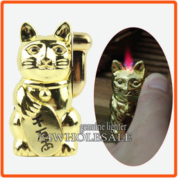 Wholesale Novelty Refillable Lighters - Novelty Maneki Neko Lucky Cat Design Refillable Hot Pink Jet Flame Cigarette Cigar Butane Gas Lighter
