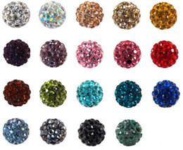 Wholesale Silver Bead Ball Necklace - 100pcs lot lowest price 10mm mixed multi color ball Crystal Shamballa Bead Bracelet Necklace Beads.Hot new beads Lot!Rhinestone DIY spacer