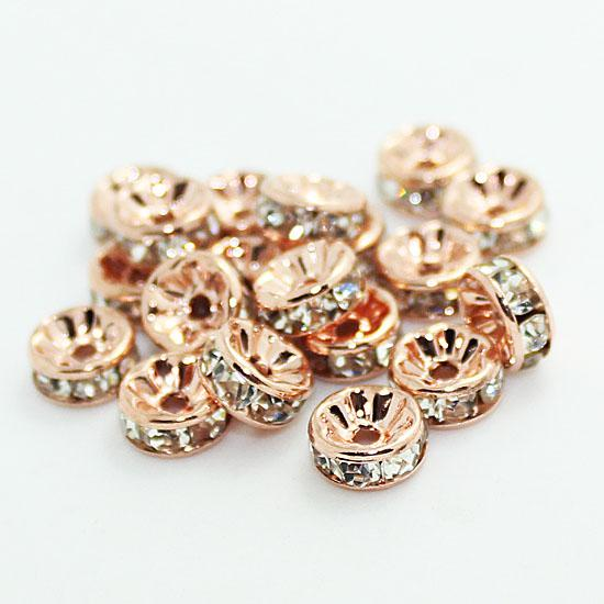 BULK Rose Gold With Clear Crystal Rondelle Rhinestone Beads Spacer Findings For Jewelry Making in 6mm