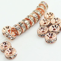 Wholesale 6mm rhinestone rondelle - BULK LOTS 50 PCS Rose Gold With Clear Crystal Rondelle Rhinestone Beads Spacer Findings For Jewelry Making in 6mm