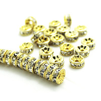 Wholesale Rhinestone Crystal Rondelle Silver Spacer - BULK LOTS 50 PCS GOLD Metal Plated With Clear Crystal Rondelle Rhinestone Beads Spacer Findings For Jewelry Making in 6mm