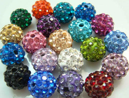 Wholesale Disco Bracelet Micro Pave - 200pcs lot 10mm free shipping mix color Micro Pave CZ Disco Crystal Shamballa Bead Bracelet Necklace Beads.good Rhinestone DIY loose spacer