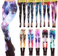 Wholesale Sexy Leggings Wholesale - Fanshion Sexy women leopard print leggings Punk Patterned Tights Elastic Pants Star flower bloom trousers woman free shipping