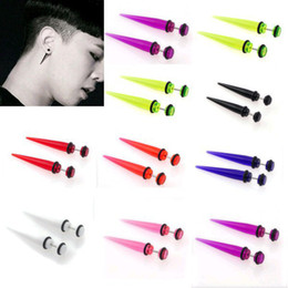 Wholesale Ear Expander Stretching Taper - Wholesale-OP-New 16pcs Ear Taper Acrylic Ear Plugs Taper Gauges Expander Stretcher Stretching Piercing Fashion Jewelry Free Shipping