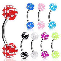 Wholesale Dice Eyebrow - Wholesale-OP-Wonderful celebrity 316L Surgical Steel Curved Barbell Eyebrow Ring with UV Coated Acrylic Dice Balls body jewelry - 16g