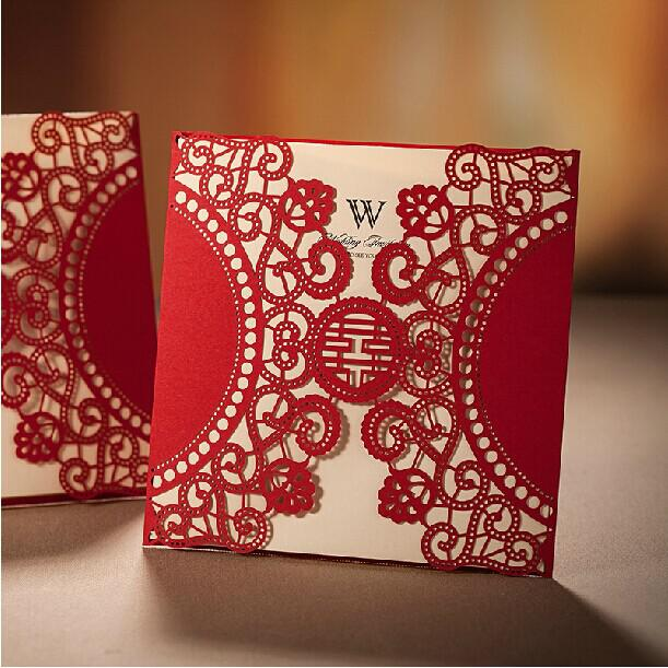 Red Chinese Xi Wedding Invitations Laser Cut Elegant Invitation – Chinese Wedding Invitations