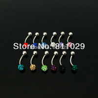 Wholesale Curved Piercing - Wholesale-OP-Hot wholesale 12pcs eyebrow ring curved barbell piercing jewelry shamballa disc ball one side banana barbell free shipping