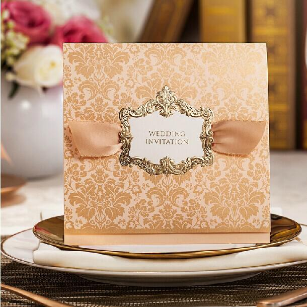 High Class Wedding Invitations 2014 Elegant Golden Flower Printing