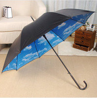 Wholesale Blue Sky Umbrella Clouds - Wholesale-OP-The blue sky white clouds the sky long umbrella umbrella Super strong uv protection umbrella