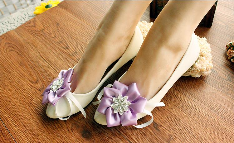 Beach Wedding Flowers Crystal Shoes Bride Bridesmaid Purple Flat Hand The Dress With XiuHe
