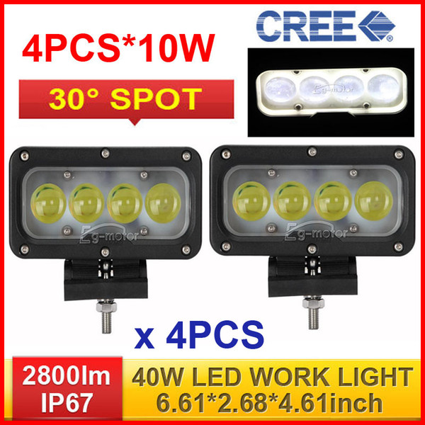 "4PCS 7"" 40W CREE LED Work Light Bar Driving Off-Road SUV ATV 4WD 4x4 Spot Pencil Beam 30 Degree 2800lm 9-60V JEEP Wagon Truck Fog Headlamps"