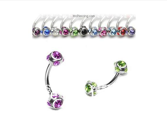 Wholesale-OP-mixed Color Crystal 316l Stainless Steel Eyebrow Ring ... e188c11d548f