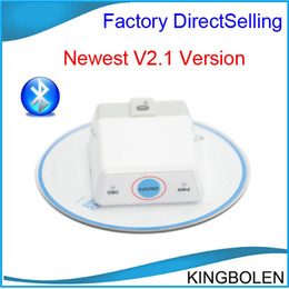 Wholesale Elm327 Switch - 2014 Hot selling White Super MINI elm 327 Bluetooth with Switch Bluetooth 2.0 ELM327 V2.1 OBDII   OBD2 Auto Scanner free shipping