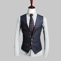 Wholesale Double Breasted Jeans - New Fashion England Style Man Noble Vest Button Slim Fit Sleeve Men Suit Vest undershirt beer for male jeans colete masculine