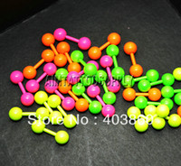 Wholesale Straight Barbell 16g - Wholesale-OP-Body piercing jewelry Straight Barbell 16G 316 stainless steel mixed colour