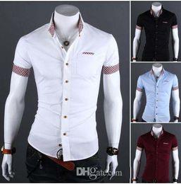 Wholesale Mens Casual Shirt Korea - New Product Korea slim men's shirts Casual short sleeve Splice Plaid shirt mens shirts white