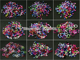 Wholesale Acrylic Cbr - Wholesale-OP-body piercing jewelry bioplast barbell eyebrow ring labret lip ring curved circular horseshoe cbr ring mix color design acrylic