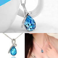 Barato Jóia Do Navio Da Gota-Brand New Cheap Price Wholesale Noble Design exclusivo Crystal Drop Necklace Fashion Jewellery Frete grátis [JN06173 * 12]