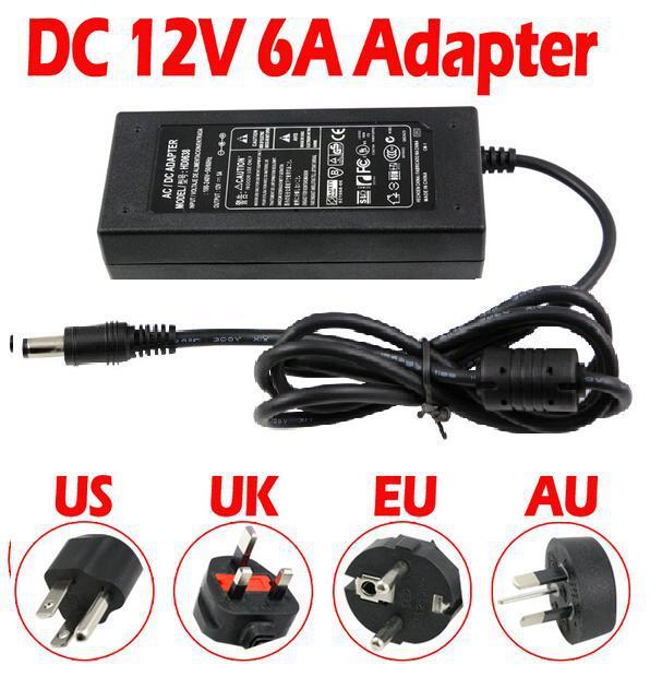 12V 6A AC / DC Power Supply Chargeur Adaptateur Transformateur pour 5050 3528 LED RGB lumière Strip