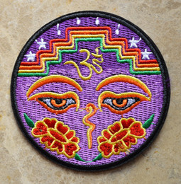 Wholesale Buddha Sale - HOT SALE! ~ Eyes of Buddha peace trance boho hippie yoga Lotus Iron On Patches, sew on patch,Appliques, Cloth,100% Quality