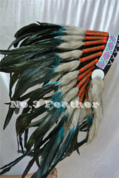 Wholesale Headdress Turquoise - Free Shipping Black and turquoise handmade Indian feather Headdress Costume feather headdress for costume decor supply party supply