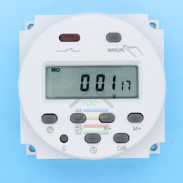 Relé temporizador dc online-Al por mayor-OP-DC 12V Digital LCD Poder programable temporizador Interruptor de tiempo Relé 16A