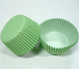 Wholesale Lighted Cup Holders Wholesale - 100pcs lot free shipping Light Green Plain Solid color cupcake liner wrapper muffin paper baking cup cake case holder party bakery supply