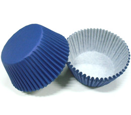 Wholesale Cupcake Wrappers Wholesale - 100pcs lot free shipping Navyy Blue Solid Plain Color cupcake liner wrapper muffin paper baking cup cake case holder party bakery supply