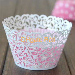 Wholesale White Cup Cake Wrapper - 120pcs white Laser cut Little Vine Cupcake wrappers,Vine Figtree wedding cup cake Liners H163