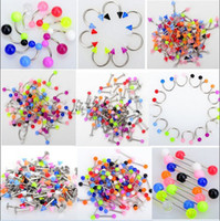 Wholesale Tongue Jewellery - Wholesale-OP-10Pcs Colorful Bulk Tongue Eyebrow Lip Belly Navel Ring Body Piercing Jewellery
