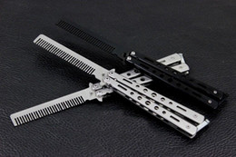 Wholesale Comb Hair Carbon - Wholesale-OP-Promotion 2PC 2014 New Folding carbon steel Practice Training Butterfly Balisong Style Knife Comb Free Shipping