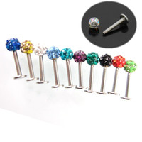 All'ingrosso-OP-50pcs / lot Monili Piercing sul labbro, strass labbro di Labret Anelli Womens Labret Stud Lip Bar Body Piercing, trasporto libero